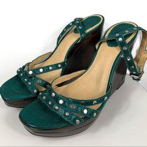 Frye Wood & Leather Wedge Sandals